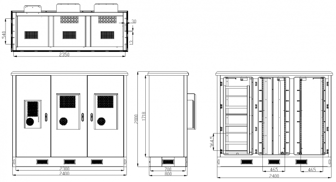 Three Bays Base Station Cabinet Outdoor Telecom Enclosure Customized ET24080200