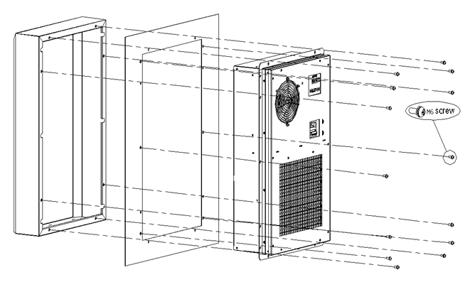 1900W Electrical Enclosure Heat Exchanger , Air Cooled Heat