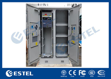 Solid Two Bay Telecom Cabinets Outdoor With Cooling / Monitoring System