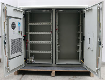 Two Compartment 24U Outdoor Wall Mounted Cabinet , Outdoor Telecom Enclosure With Heat Exchanger