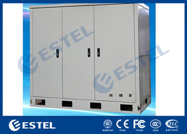 China Three Bays Outdoor Telecom Cabinet Stainless Steel With Three Front Doors supplier