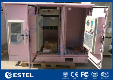 China IP55 Triple Bay Racking Outdoor Telecom Enclosure / Pink Color Three Doors Air Conditioner Cooling Cabinet factory